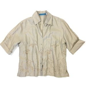 Johnny Was linen embroidered vintage button down